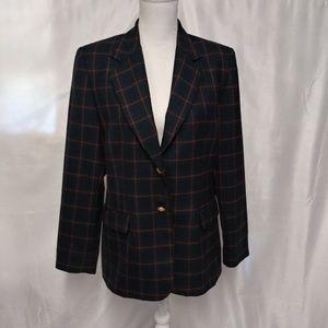 Pendleton Navy Blue/Red/Green Tartan Wool Blazer